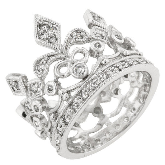 Crown Engagement Ring Wedding Eternity Band Womens Simulated Diamond 925 Sterling Silver CZ