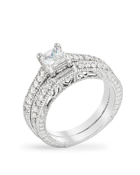 2.82c Round Cut Wedding Ring Set Engagement Diamond Simulated CZ 925 Sterling Silver