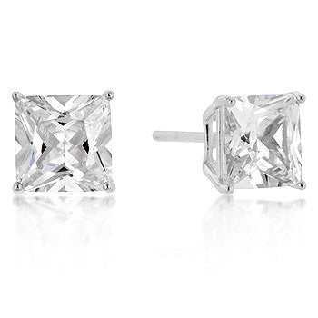 Princess Cut Stud Earrings 925 Sterling Silver CZ Women's Cubic Zirconia sz 7mm 6mm 5mm or 4mm