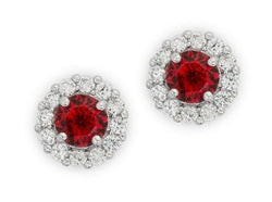 4.5ct Ruby Red Bridal Earrings Round Cut Stud Earrings 925 Sterling Silver CZ Womens Floral