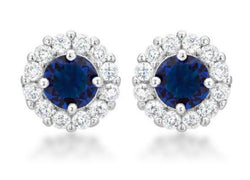 4.5c Sapphire Blue Bridal Earrings Round Cut Stud Earrings 925 Sterling Silver CZ Womens Floral