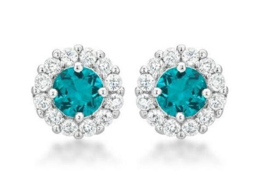 4.5c Aqua Blue Bridal Earrings Round Cut Stud Earrings 925 Sterling Silver CZ Womens Floral