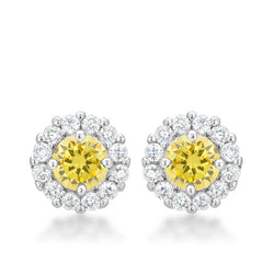 4.5c Yellow Citrine Bridal Earrings Round Cut Stud Earrings 925 Sterling Silver CZ Womens Floral