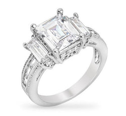 5.1c Emerald Cut Wedding Ring Engagement Diamond Simulated CZ 925 Sterling Silver Platinum ep