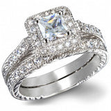 3.55 Princess Cut Wedding Ring Set Engagement Diamond Simulated 925 Sterling Silver Platinum ep CZ