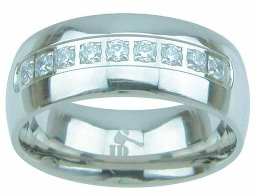 Men's Silver Titanium Ring 8mm Wedding Band Engagement Women's