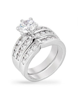 3.28c Round Cut Wedding Ring Set Engagement Diamond Simulated CZ 925 Sterling Silver Platinum ep