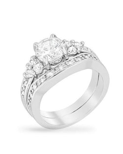 2.96C Round Cut Wedding Ring Set Engagement Band Diamond Simulated CZ 925 Sterling Silver