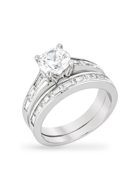 2.77ct Round Cut Wedding Ring Set Engagement Diamond Simulated CZ 925 Sterling Silver