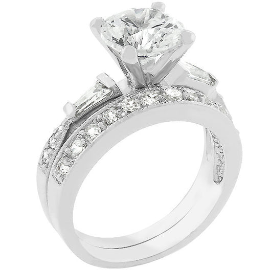 2.63c Round Cut Wedding Ring Set Engagement Diamond Simulated CZ 925 Sterling Silver
