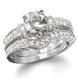3.15c Round Cut Wedding Ring Set Engagement Diamond Simulated CZ 925 Sterling Silver Platinum ep