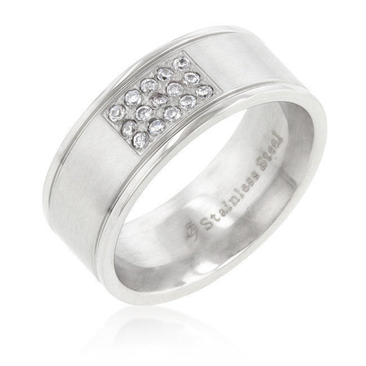 Mens Silver Stainless Steel CZ Ring Wedding Band Wedding Ring