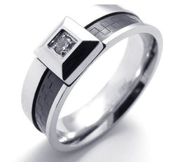 Men's Silver Black Ring 8mm Wedding Band Men's Engagement Black Biker Stainless Steel