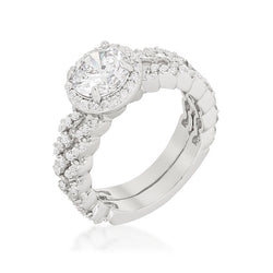 3.1c Round Cut Wedding Ring Set Engagement Diamond Simulated CZ 925 Sterling Silver Platinum ep