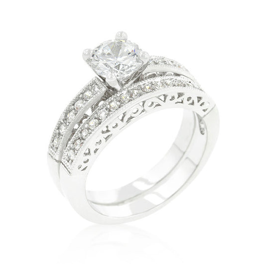2.9c Round Cut Wedding Ring Set Engagement Diamond Simulated CZ 925 Sterling Silver Platinum ep