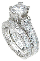 2.88C Round Cut Wedding Ring Set Engagement Diamond Simulated CZ 925 Sterling Silver