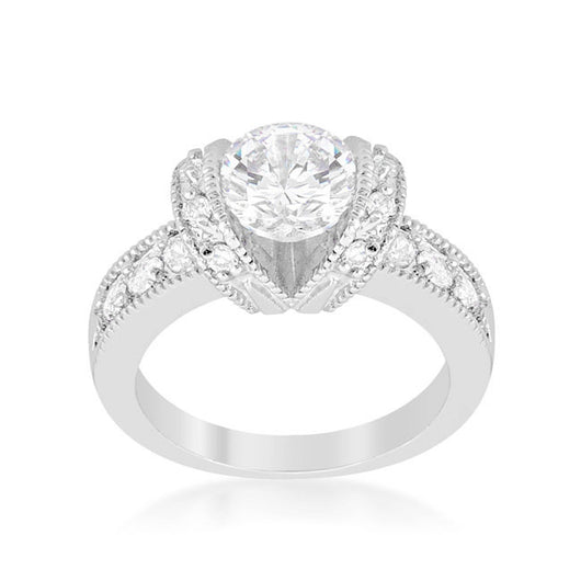 2.34C Round Cut Wedding Ring Engagement Diamond Simulated CZ 925 Sterling Silver