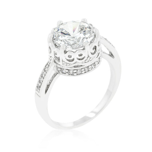 4.75C Round Cut Wedding Ring Engagement Diamond Simulated CZ 925 Sterling Silver Platinum ep