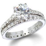 3.45c Round Cut Wedding Ring Set Engagement Diamond Simulated CZ 925 Sterling Silver Platinum ep