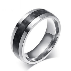 8mm Mens Tungsten Ring Black Carbon Fiber Inlay Mens Metal Rings Carbide Comfort Fit Wedding Bands