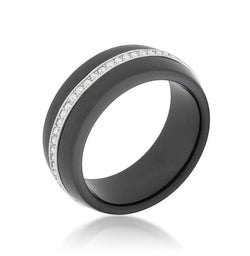 8mm Engagement Ring Eternity Ring Wedding CZ Eternity Band Womens Black Ceramic Cubic Zirconia