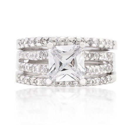 3.75C Princess Cut Wedding Ring Set Engagement Diamond Simulated 925 Sterling Silver Platinum ep CZ