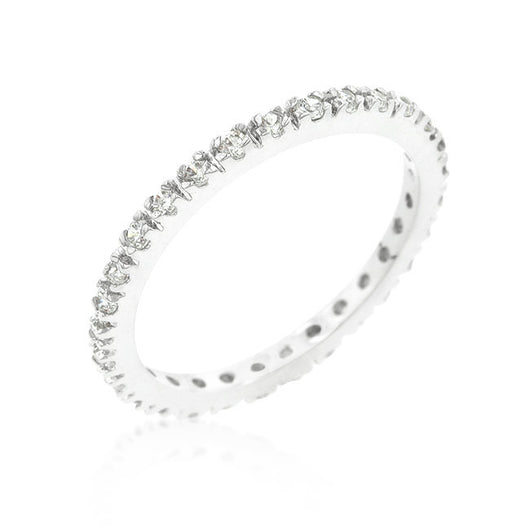 Delicate Engagement Ring Eternity Wedding Band Womens Simulated Diamond 925 Sterling Silver CZ