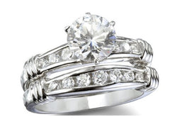 2.64 Round Cut Wedding Ring Set Engagement Diamond Simulated CZ 925 Sterling Silver Platinum ep