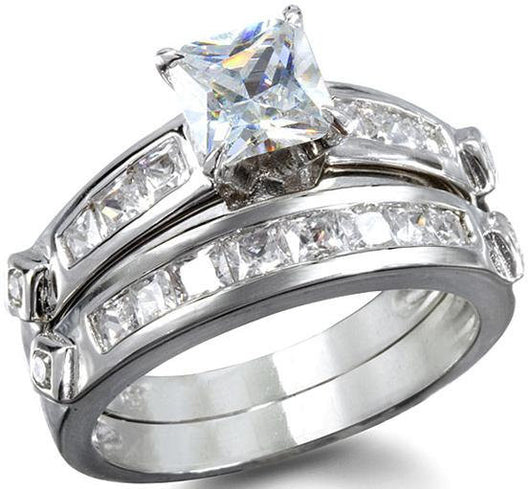 2.78 Princess Cut Wedding Ring Set Engagement Diamond Simulated 925 Sterling Silver Platinum ep