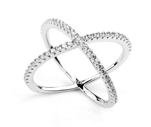 Criss Cross Engagement Ring Wedding Eternity Band Womens Simulated Diamond 925 Sterling Silver CZ