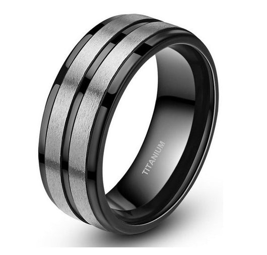 Men's Silver Black Ring 8mm Titanium BLACK Wedding Band Engagement Ring Womens