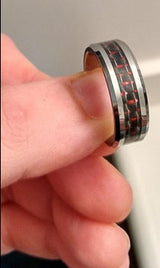 Men's Silver w Black Red Inlay Ring 8mm Titanium Wedding Band Engagement Black Titanium Ring
