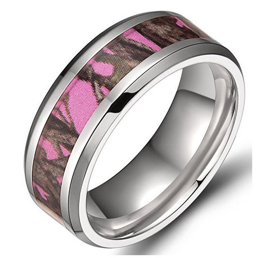 8mm Pink Camouflage Men's Titanium Ring Pink Forest Comfort Fit Wedding Band Women's
