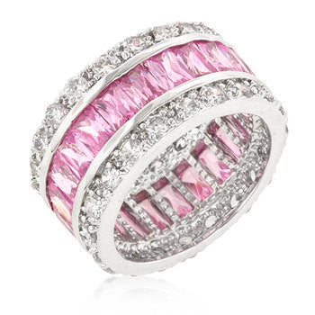 Pink Engagement Ring Eternity Wedding Band Womens Simulated Diamond 925 Sterling Silver CZ