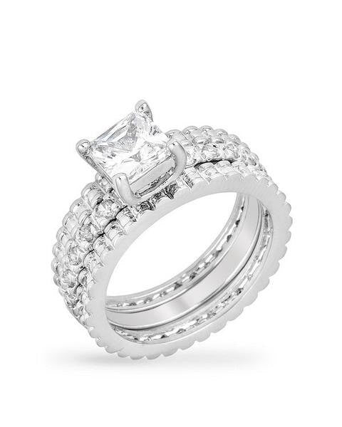 2.88ct Princess Cut Wedding Ring Set Engagement Diamond Simulated 925 Sterling Silver Platinum ep CZ