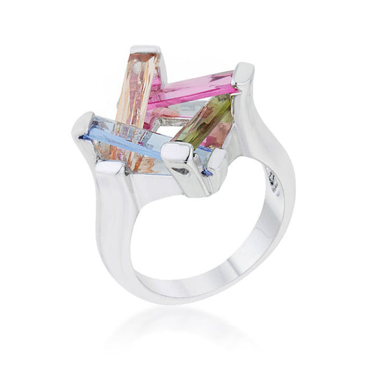 10ct Multicolor Rhodium Cocktail Ring CZ Women's Orange, Pink, Purple, Green