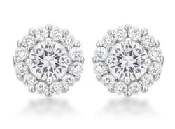 4.5c Clear Bridal Earrings Round Cut Stud Earrings 925 Sterling Silver CZ Womens Floral