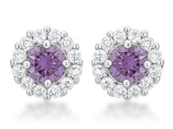 4.5 Lavender Purple Bridal Earrings Round Cut Stud Earrings 925 Sterling Silver CZ Womens Floral