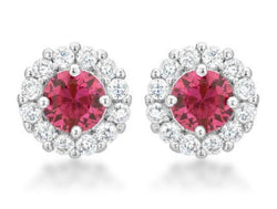 4.5 Pink Fuchsia Bridal Earrings Round Cut Stud Earrings 925 Sterling Silver CZ Womens Floral