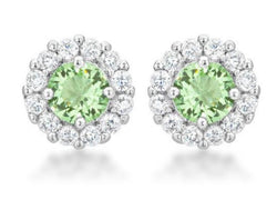 4.5c Peridot Green Bridal Earrings Round Cut Stud Earrings 925 Sterling Silver CZ Womens Floral