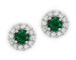 4.5c Emerald Green Bridal Earrings Round Cut Stud Earrings 925 Sterling Silver CZ Womens Floral