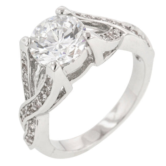 Brilliant Twist Wedding Ring Engagement Womens Simulated Diamond 925 Sterling Silver CZ