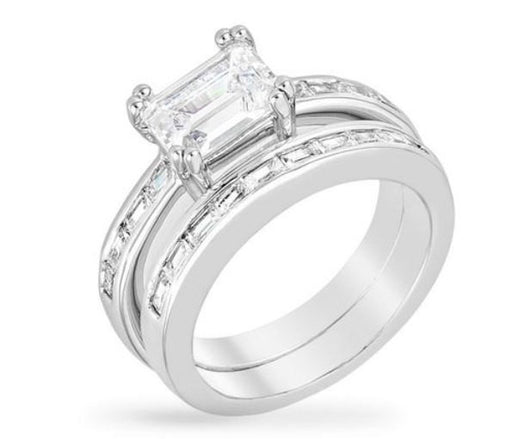 2.92C Princess Cut Wedding Ring Set Engagement Diamond Simulated 925 Sterling Silver