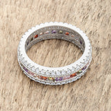 Multicolor Engagement Ring Eternity Ring Wedding CZ Band Womens Rhodium ep Pink Purple Red Yellow
