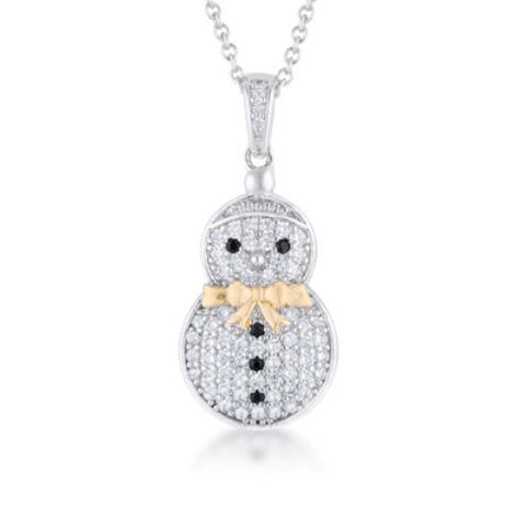 Snowman Pendant .35ct and Necklace 18