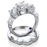 2.85CT Round Cut Wedding Ring Set Engagement Diamond Simulated CZ 925 Sterling Silver