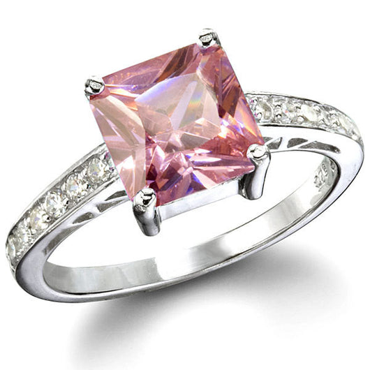 Sarah Pink Ice Princess Cut Engagement Ring Wedding Women's Diamond Simulated 925 Platinum ep