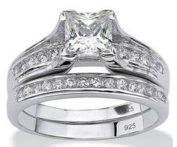 2.55ct Princess Cut Wedding Ring Set Engagement Diamond Simulated 925 Sterling Silver