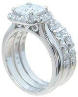 3.5C 3PC Princess Cut Womens Diamond Simulated Wedding Ring Set Engagement  Sterling Silver