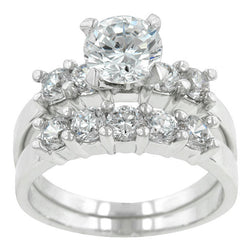 2.69ct Round Cut Wedding Ring Set Engagement Diamond Simulated CZ 925 Sterling Silver